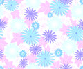 Seamless pattern with flowers cool blue shades on a homogeneous light background. EPS10 vector illustration Royalty Free Stock Photo