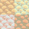 Seamless pattern with flowers hand drawn in four color variations Stock Image