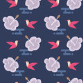 Seamless pattern with flowers and hummingbirds Royalty Free Stock Photo
