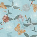 Seamless Pattern of Flowers and Leaves Stock Photo