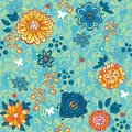Seamless pattern with flowers and leaves Royalty Free Stock Photography