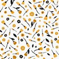 Seamless pattern with flowers and leaves in black and yellow color on white background. Hand drawn fabric, gift wrap