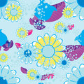 Seamless pattern of flowers and leaves on a blue background. vec