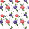 Seamless pattern with flowers and leaves in green,red and purple colors on white background