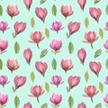 Seamless pattern of flowers and leaves of magnolia.