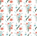Seamless Pattern of Flowers with Leaves on White