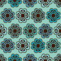 Seamless pattern of flowers ornate blue brown Royalty Free Stock Photo