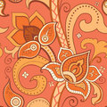 Seamless pattern with flowers and paisley Stock Images