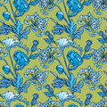 Seamless pattern with flowers - poppy and sweet pea in blue colo Royalty Free Stock Photo