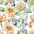 Seamless pattern with flowers. Rose. Blossom. Iris. Watercolor.