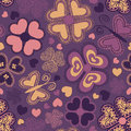 Seamless pattern of flowers summer colorful doodle and butterflies Stock Photos