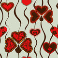 Seamless pattern of flowers summer red doodle Royalty Free Stock Photography