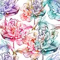 Seamless pattern with flowers vector eps abstract peony Royalty Free Stock Photos