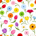 Seamless pattern with flowers. Vector illustration. Royalty Free Stock Photo