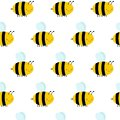 Seamless Pattern with Flying Bees on a White Background