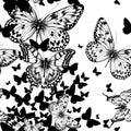 Bezšvový vzor lietanie motýle ruka