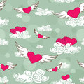 Seamless pattern of flying heats at the sky cartoon Royalty Free Stock Photography