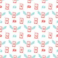 Seamless pattern with flying phones. Envelope with a love letter on the screen. Social networking. For Valentine`s day Royalty Free Stock Photo