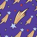 Seamless pattern of flying stars cartoon style vector illustration on dark blye night sky
