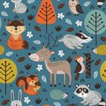 Seamless pattern with forest animals on blue background Scandinavian style