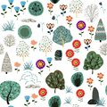 stock image of  Seamless pattern with forest elements and hand drawn shapes. Childish texture.