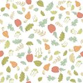 Seamless pattern with forest theme vector apples mushrooms and leaves Stock Images