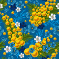 Seamless pattern with forget-me and mimosas Stock Image