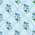 Seamless pattern with forget-me-nots on blue checkered background.