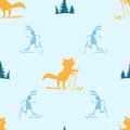 Seamless pattern with fox and hare skiing