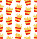 Seamless Pattern of French Fries Boxes of Takeaway. Fast Food Background