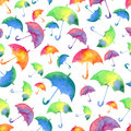 Seamless pattern with fresh bright watercolor umbrellas. Fall