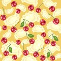 Seamless pattern. Fresh delicious dumplings, vareniki. Juicy red berries, cherries. Suitable as wallpaper in the kitchen, for