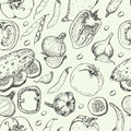 Seamless pattern with fresh vegetables. Tomato, pepper, cucumber, chilli, onion, garlic and beans Royalty Free Stock Photo
