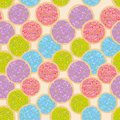 Seamless pattern Frosted sugar Italian Freshly baked cookies with pink violet blue green frosting and colorful sprinkles. Bright c Royalty Free Stock Photo