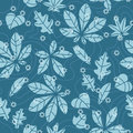Seamless pattern with frozen autumn leaves Stock Images