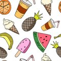 Seamless pattern with fruit, ice cream and drink