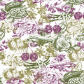 Seamless pattern with fruit and spices in vintage style.