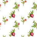 Seamless pattern with fruit tree branches , leaves,flowers and pomegranates