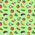 Seamless pattern with fruit and vegetables cute Stock Photos