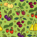 Seamless pattern of fruits and berries Stock Photography