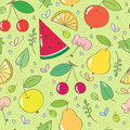 Seamless pattern with fruits and berries leaves flowers cherries apples pears watermelon oranges butterflies on the light green Royalty Free Stock Photos