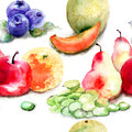 Seamless pattern with fruits watercolor illustration Stock Images