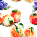 Seamless pattern with fruits watercolor illustration Stock Photos