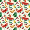 Seamless pattern of fruits, watermelon, melon, strawberry, cherry, plum, kiwi.