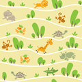 Seamless pattern with funny african animals Royalty Free Stock Photo