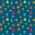 Seamless pattern with funny aliens and stars