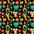 Seamless pattern with funny animals Royalty Free Stock Photo