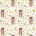Seamless pattern with funny bears and bees. Royalty Free Stock Photo