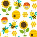 Seamless pattern with funny bees and icons Royalty Free Stock Photo