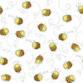 Seamless pattern of funny bees Royalty Free Stock Photo